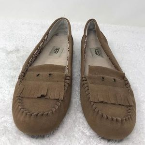 UGG Lizzy Brown Suede Moccasin Slipper Flat Sz 10